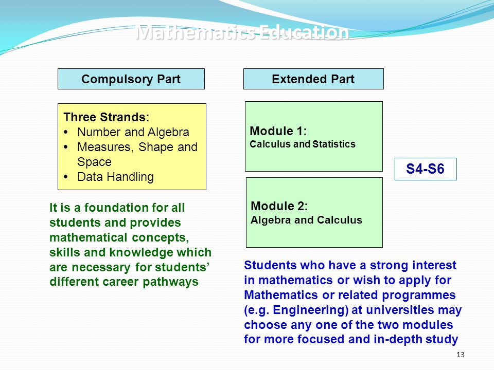Compulsory PartExtended Part Three Strands:  Number and Algebra  Measures, Shape and Space  Data Handling Module 1: Calculus and Statistics Module
