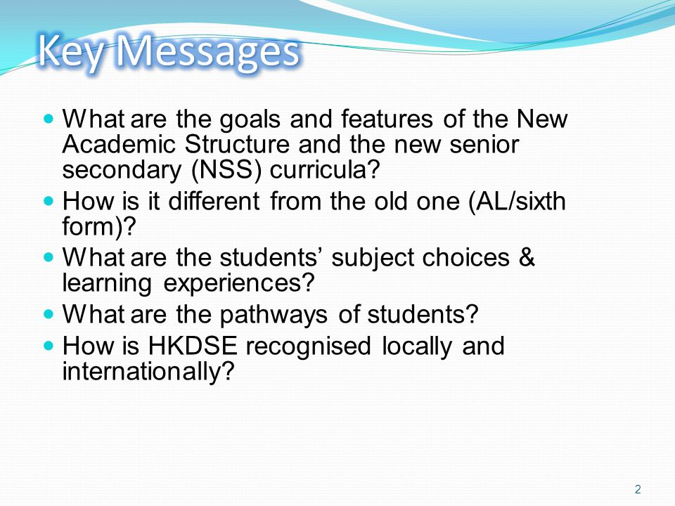 What are the goals and features of the New Academic Structure and the new senior secondary (NSS) curricula.