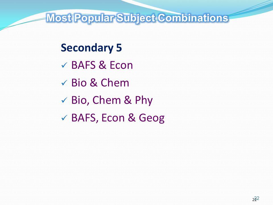 22 Secondary 5 BAFS & Econ Bio & Chem Bio, Chem & Phy BAFS, Econ & Geog 22