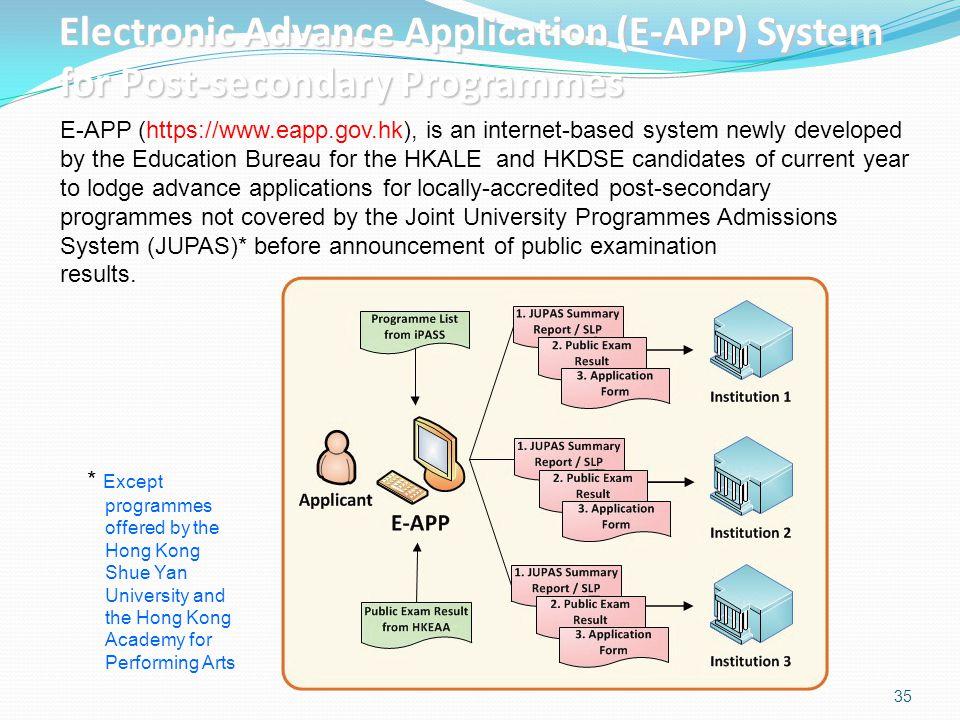 35 Electronic Advance Application (E-APP) System for Post-secondary Programmes E-APP (https://www.eapp.gov.hk), is an internet-based system newly deve