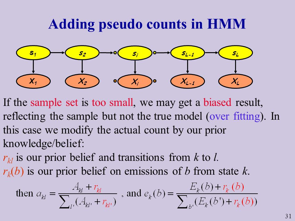31 Adding pseudo counts in HMM If the sample set is too small, we may get a biased result, reflecting the sample but not the true model (over fitting).