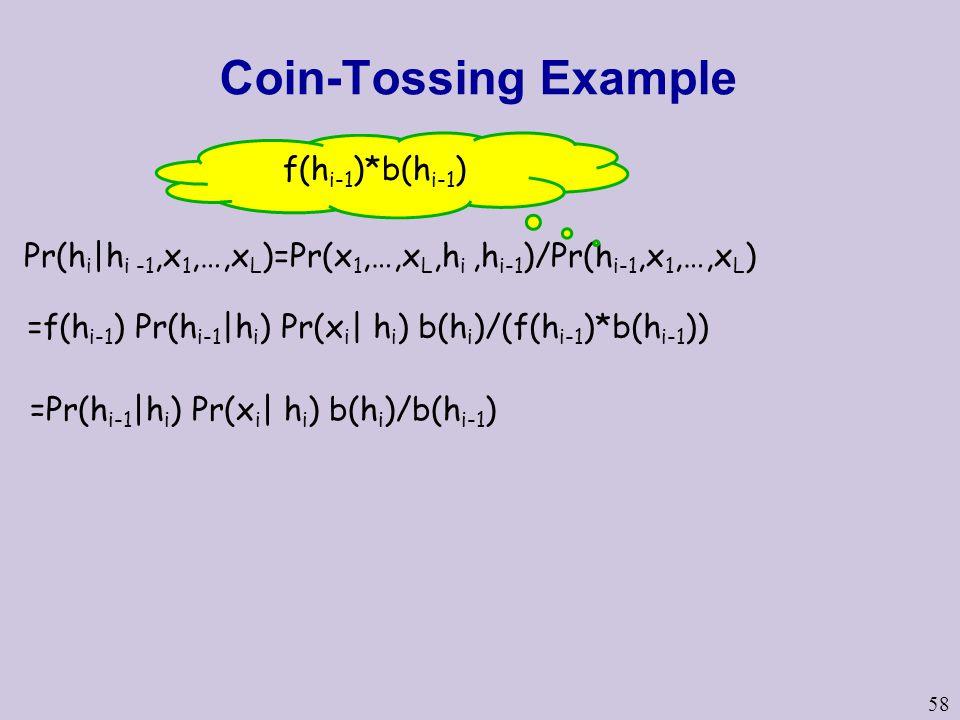 58 Coin-Tossing Example Pr(h i |h i -1,x 1,…,x L )=Pr(x 1,…,x L,h i,h i-1 )/Pr(h i-1,x 1,…,x L ) f(h i-1 )*b(h i-1 ) =f(h i-1 ) Pr(h i-1 |h i ) Pr(x i | h i ) b(h i )/(f(h i-1 )*b(h i-1 )) =Pr(h i-1 |h i ) Pr(x i | h i ) b(h i )/b(h i-1 )