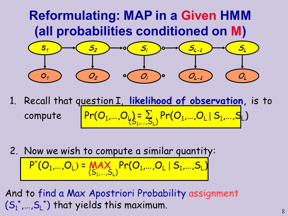 8 Reformulating: MAP in a Given HMM (all probabilities conditioned on M) 1.Recall that question I, likelihood of observation, is to compute Pr(O 1,…,O L ) =  Pr(O 1,…,O L | S 1,…,S L ) 2.Now we wish to compute a similar quantity: P * (O 1,…,O L ) = MAX Pr(O 1,…,O L | S 1,…,S L ) (S 1,…,S L ) And to find a Max Apostriori Probability assignment (S 1 *,…,S L * ) that yields this maximum.