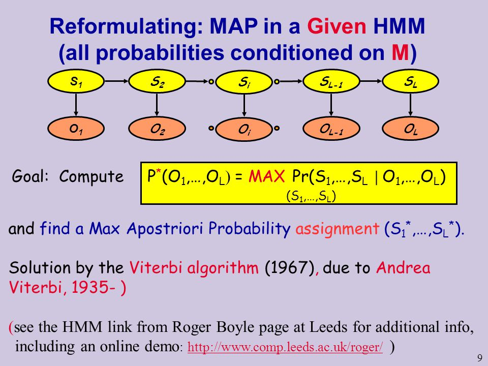9 Reformulating: MAP in a Given HMM (all probabilities conditioned on M) Goal: Compute P * (O 1,…,O L ) = MAX Pr(S 1,…,S L | O 1,…,O L ) (S 1,…,S L ) and find a Max Apostriori Probability assignment (S 1 *,…,S L * ).