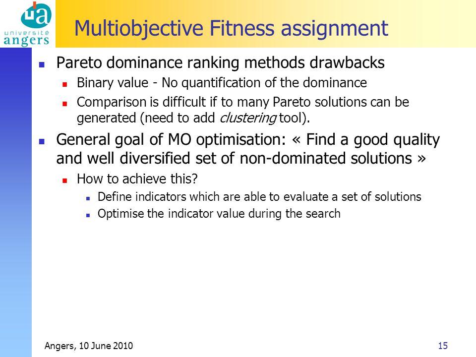 Angers, 10 June 201015 Multiobjective Fitness assignment Pareto dominance ranking methods drawbacks Binary value - No quantification of the dominance