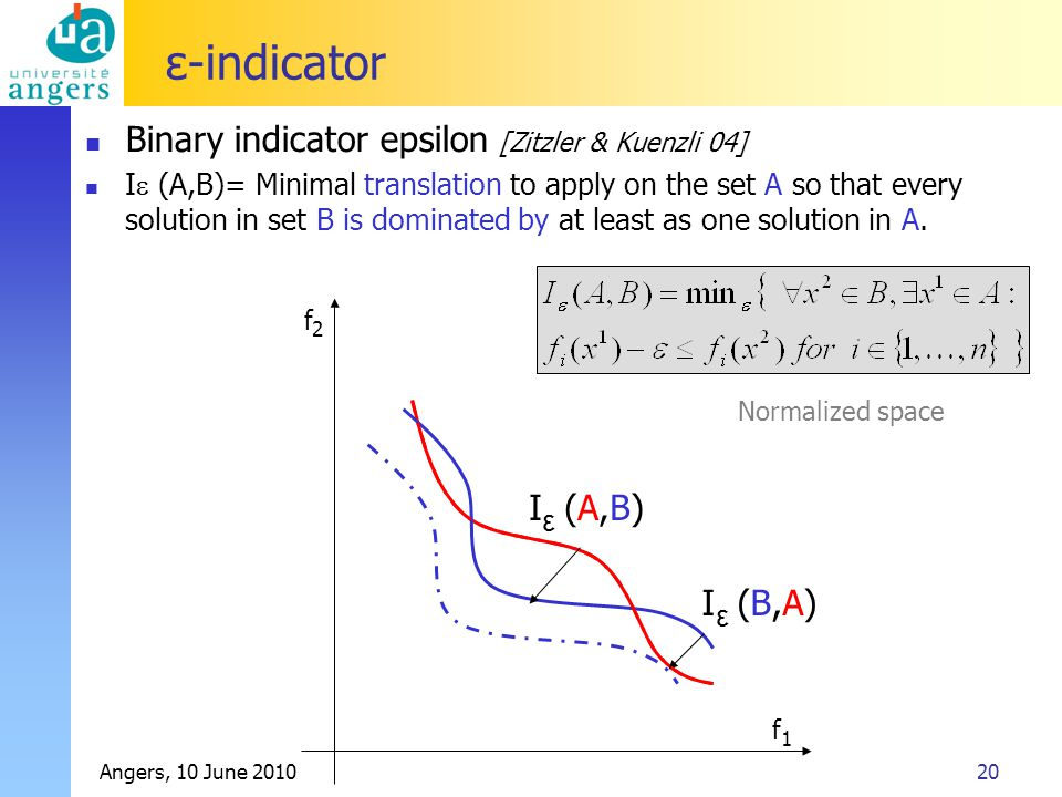 Angers, 10 June 201020 ε-indicator I (A,B) ε I (B,A) ε Normalized space f 1 f 2 Binary indicator epsilon [Zitzler & Kuenzli 04] I  (A,B)= Minimal translation to apply on the set A so that every solution in set B is dominated by at least as one solution in A.