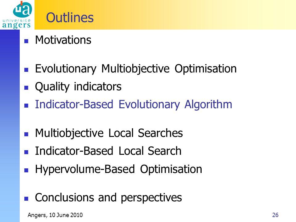 Angers, 10 June 201026 Outlines Motivations Evolutionary Multiobjective Optimisation Quality indicators Indicator-Based Evolutionary Algorithm Multiob