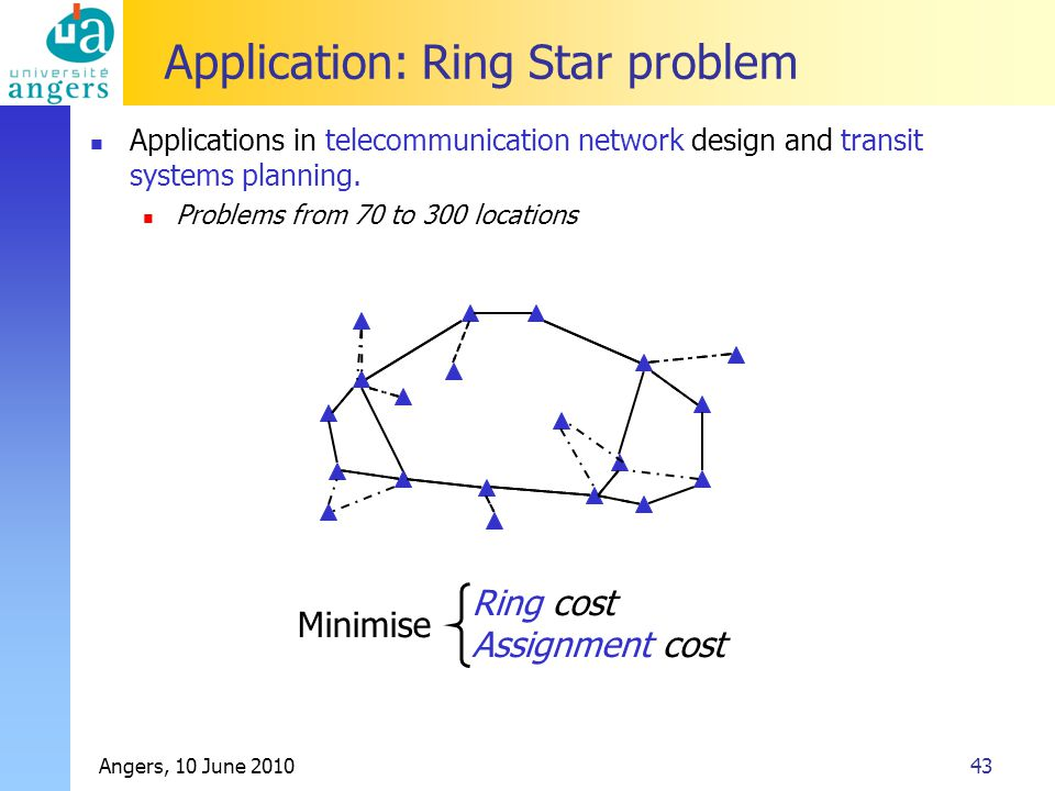 Angers, 10 June 201043 Application: Ring Star problem Applications in telecommunication network design and transit systems planning.