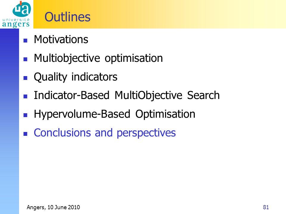Angers, 10 June 201081 Outlines Motivations Multiobjective optimisation Quality indicators Indicator-Based MultiObjective Search Hypervolume-Based Opt