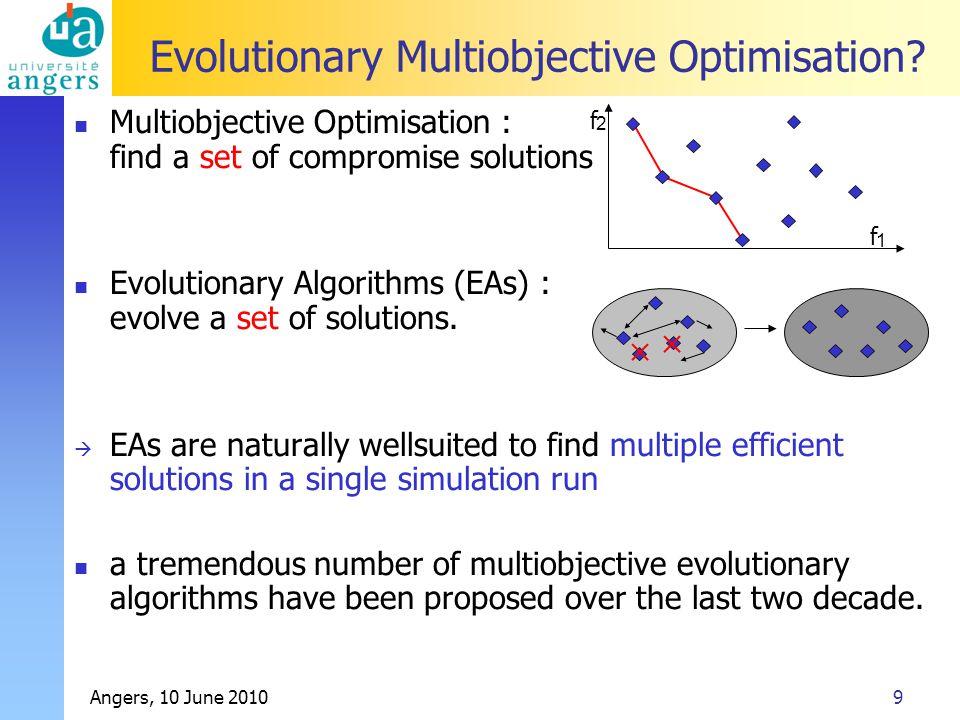 Angers, 10 June 20109 Evolutionary Multiobjective Optimisation.