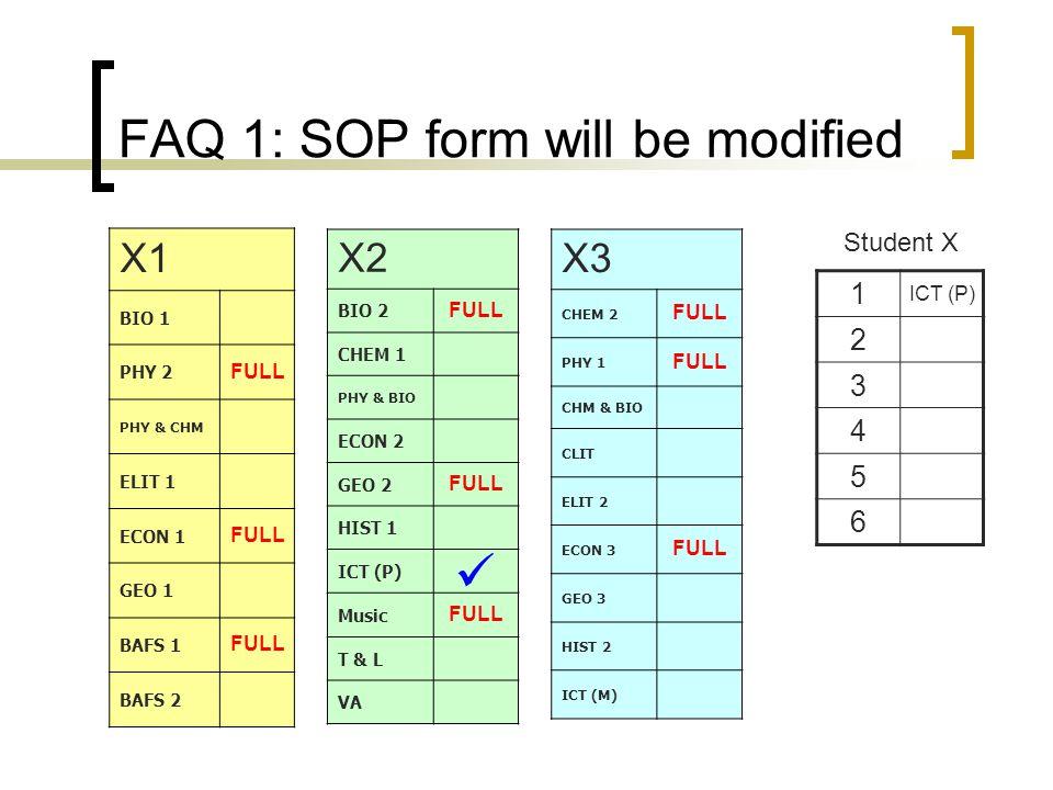 FAQ 1: SOP form will be modified X1 BIO 1 PHY 2 FULL PHY & CHM ELIT 1 ECON 1 FULL GEO 1 BAFS 1 FULL BAFS 2 X2 BIO 2 FULL CHEM 1 PHY & BIO ECON 2 GEO 2 FULL HIST 1 ICT (P) Music FULL T & L VA X3 CHEM 2 FULL PHY 1 FULL CHM & BIO CLIT ELIT 2 ECON 3 FULL GEO 3 HIST 2 ICT (M) 1 ICT (P) 2 3 4 5 6 Student X