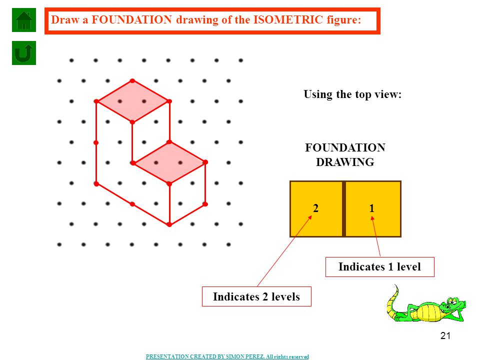 21 PRESENTATION CREATED BY SIMON PEREZ. All rights reserved Draw a FOUNDATION drawing of the ISOMETRIC figure: FOUNDATION DRAWING 2 1 Indicates 2 leve