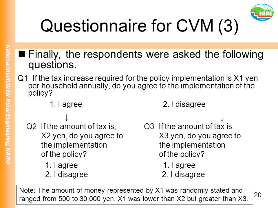 National Institute for Rural Engineering, NARO 20 Questionnaire for CVM (3) Finally, the respondents were asked the following questions. Q1 If the tax