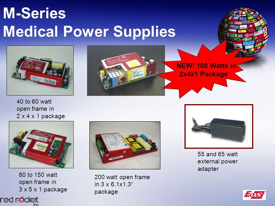 M-Series Medical Power Supplies 55 and 65 watt external power adapter 40 to 60 watt open frame in 2 x 4 x 1 package 80 to 150 watt open frame in 3 x 5 x 1 package 200 watt open frame in 3 x 6.1x1.3 package NEW.