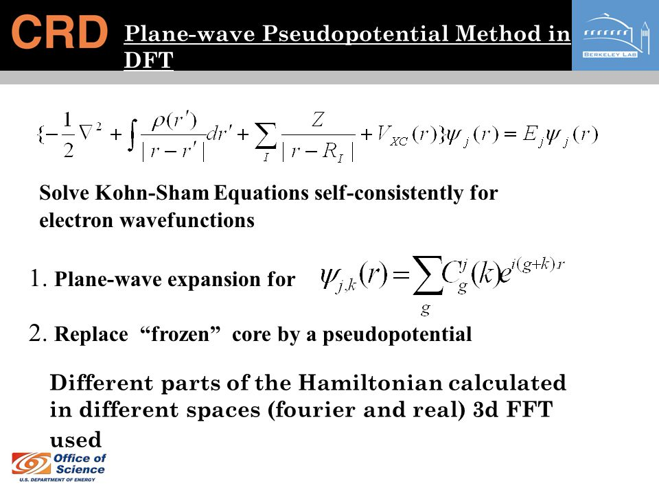 Plane-wave Pseudopotential Method in DFT Solve Kohn-Sham Equations self-consistently for electron wavefunctions 1. Plane-wave expansion for 2. Replace