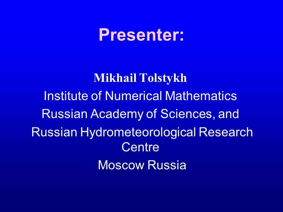 Data assimilation in Russian Hydrometcentre at the end of 2003 Tsyroulnikov M.D., Zaripov R.B., Bagrov A.N., Tolstykh M.A.