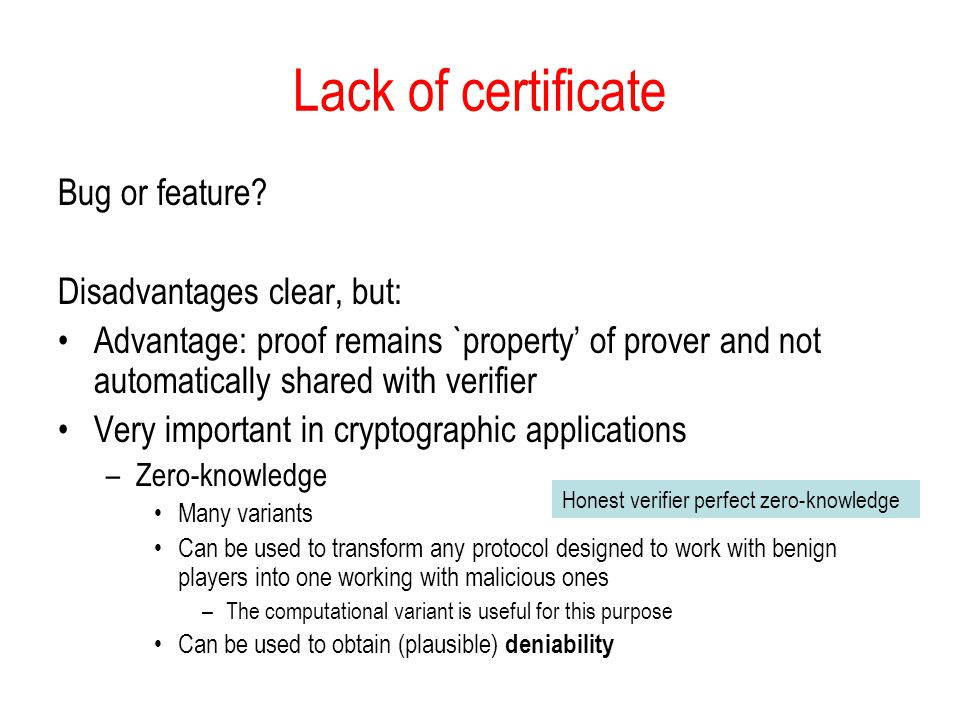 Lack of certificate Bug or feature.