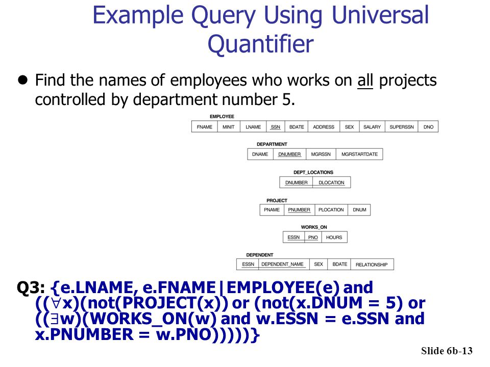 Example Query Using Universal Quantifier Find the names of employees who works on all projects controlled by department number 5. Q3: {e.LNAME, e.FNAM