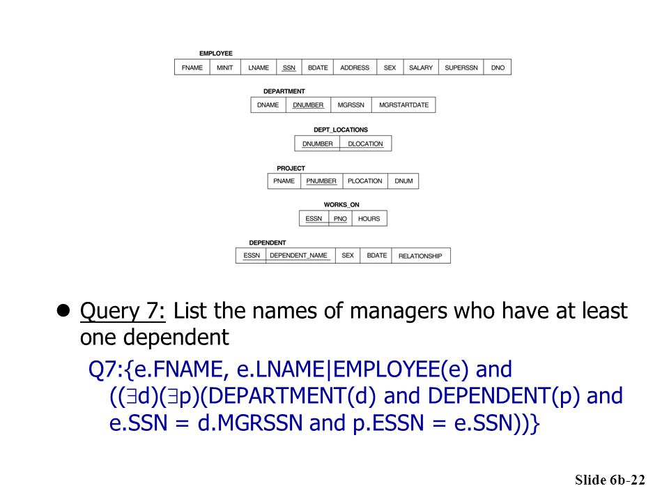 Query 7: List the names of managers who have at least one dependent Q7:{e.FNAME, e.LNAME|EMPLOYEE(e) and ((  d)(  p)(DEPARTMENT(d) and DEPENDENT(p)