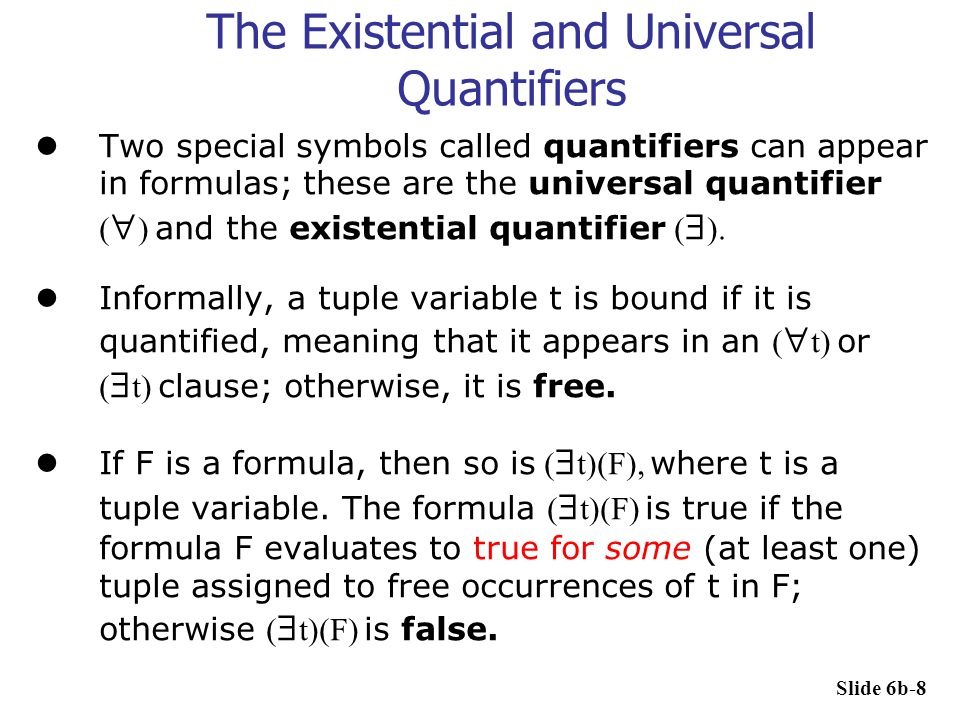 Transforming Universal and Existential Quantifier The following is also true, where  stands for implies:  (  x)(P(x))  (  x)(P(x))  (not  x)(P(x))  not (  x)(P(x)) The following is not true:  not(  x)(P(x))  (not  x)(P(x)) Slide 6b-19