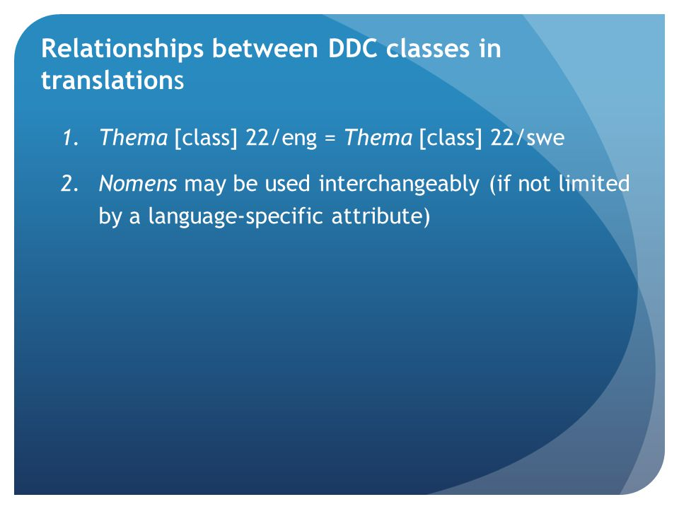 Relationships between DDC classes in translations 1.Thema [class] 22/eng = Thema [class] 22/swe 2.Nomens may be used interchangeably (if not limited by a language-specific attribute)