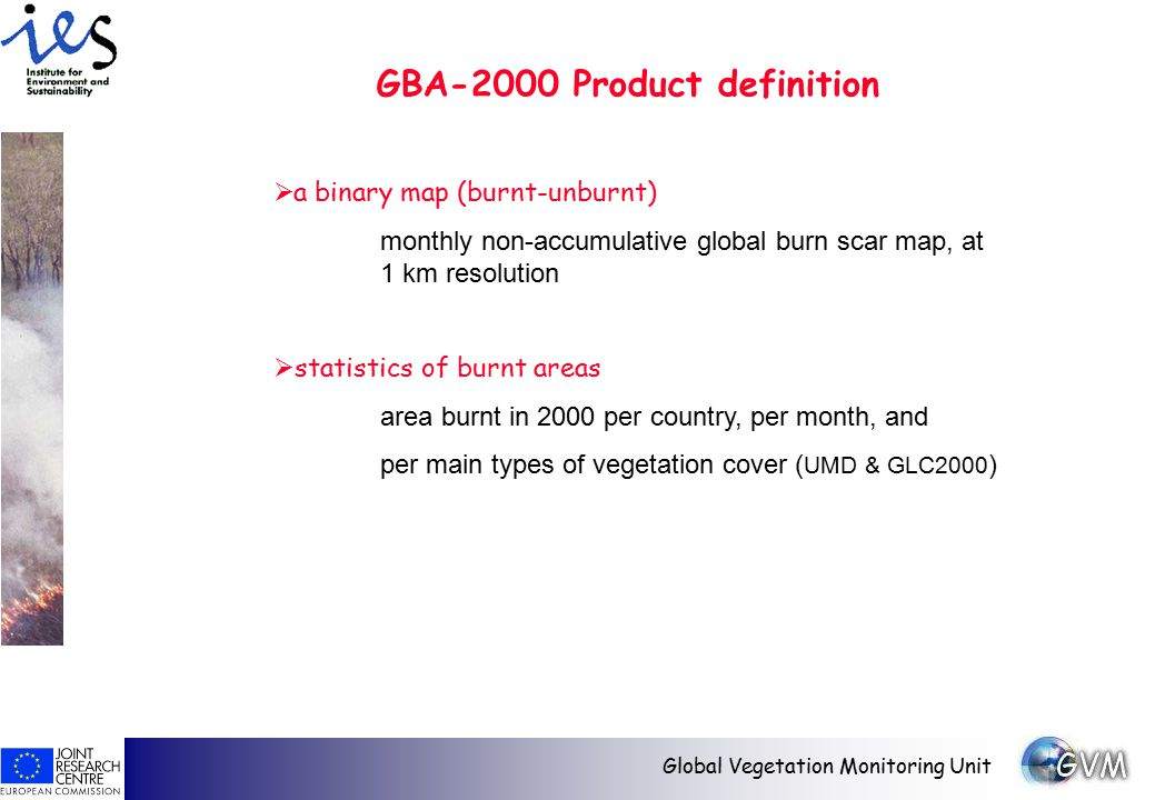 Global Vegetation Monitoring Unit  a binary map (burnt-unburnt) monthly non-accumulative global burn scar map, at 1 km resolution  statistics of burnt areas area burnt in 2000 per country, per month, and per main types of vegetation cover ( UMD & GLC2000 ) GBA-2000 Product definition
