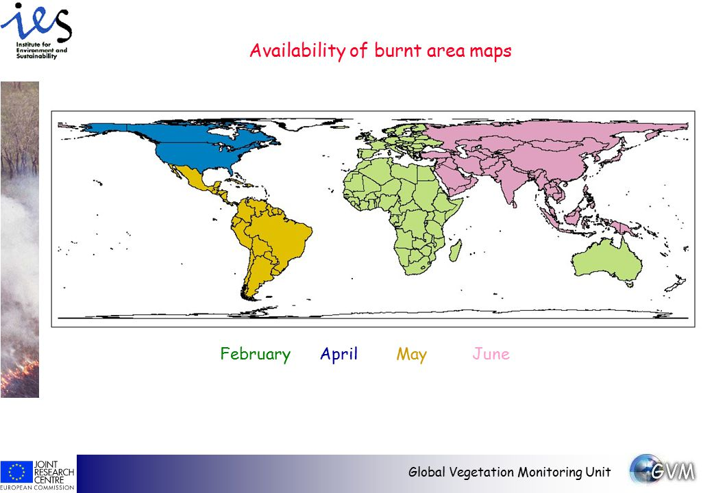 Global Vegetation Monitoring Unit Availability of burnt area maps February April May June