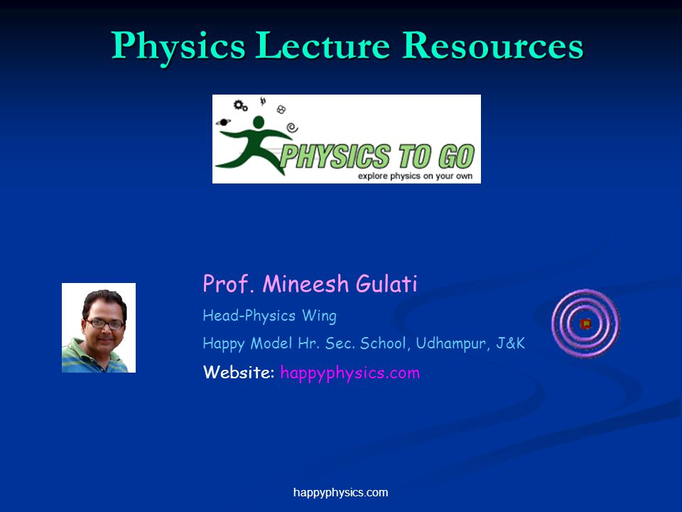 happyphysics.com Physics Lecture Resources Prof. Mineesh Gulati Head-Physics Wing Happy Model Hr. Sec. School, Udhampur, J&K Website: happyphysics.com