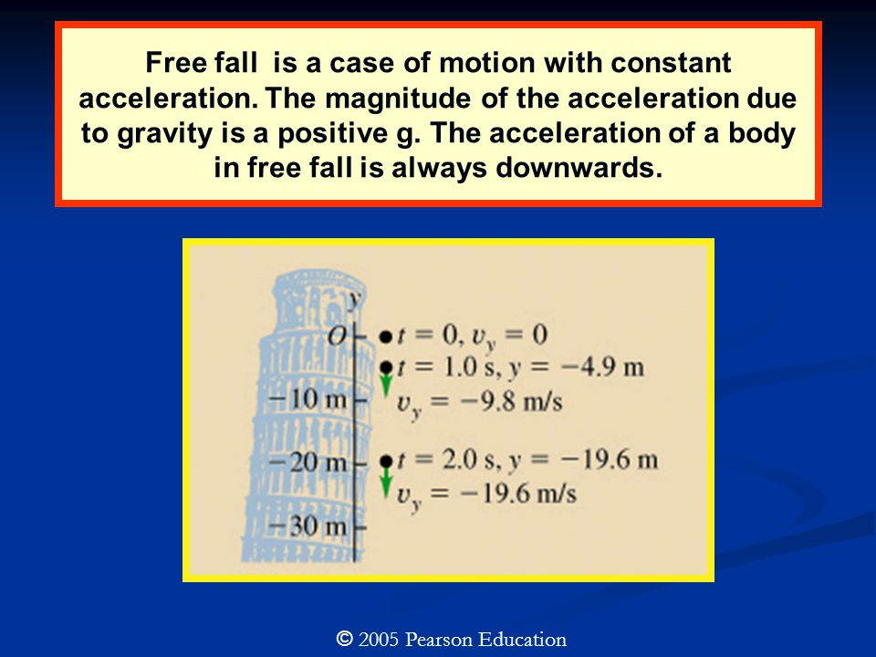 Free fall is a case of motion with constant acceleration. The magnitude of the acceleration due to gravity is a positive g. The acceleration of a body