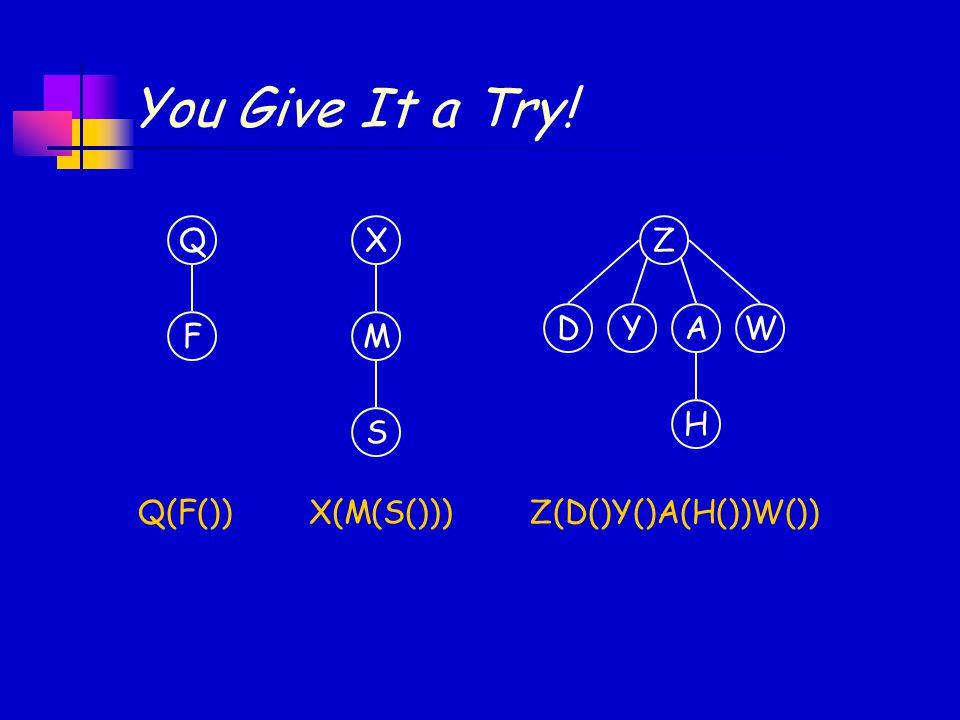 You Give It a Try! Z(D()Y()A(H())W())Q(F()) Q F X M S Z YADW H X(M(S()))