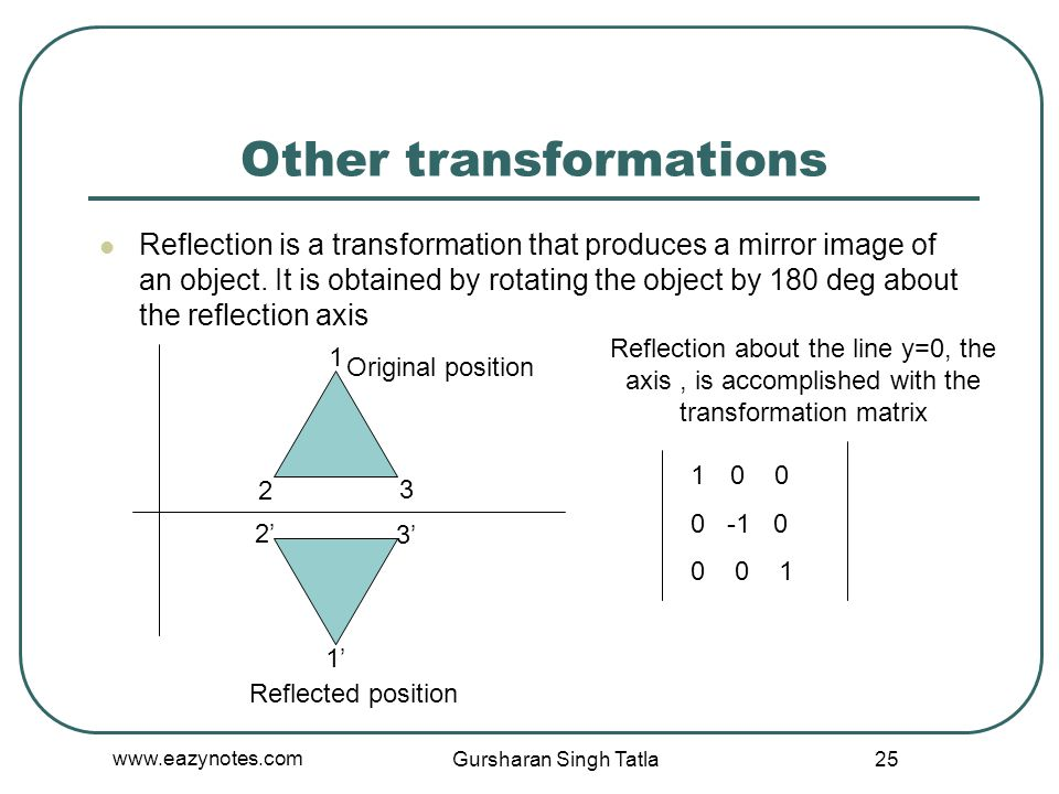 Other transformations Reflection is a transformation that produces a mirror image of an object. It is obtained by rotating the object by 180 deg about