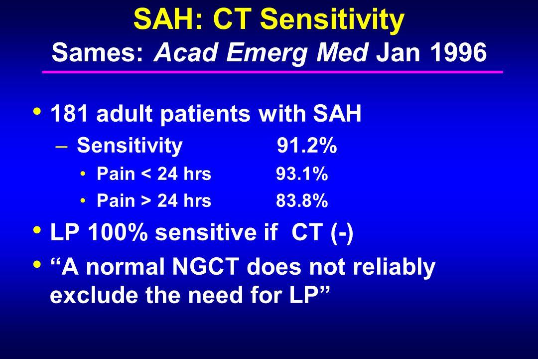 SAH: CT Sensitivity Sames: Acad Emerg Med Jan 1996 181 adult patients with SAH – Sensitivity 91.2% Pain < 24 hrs 93.1% Pain > 24 hrs 83.8% LP 100% sen