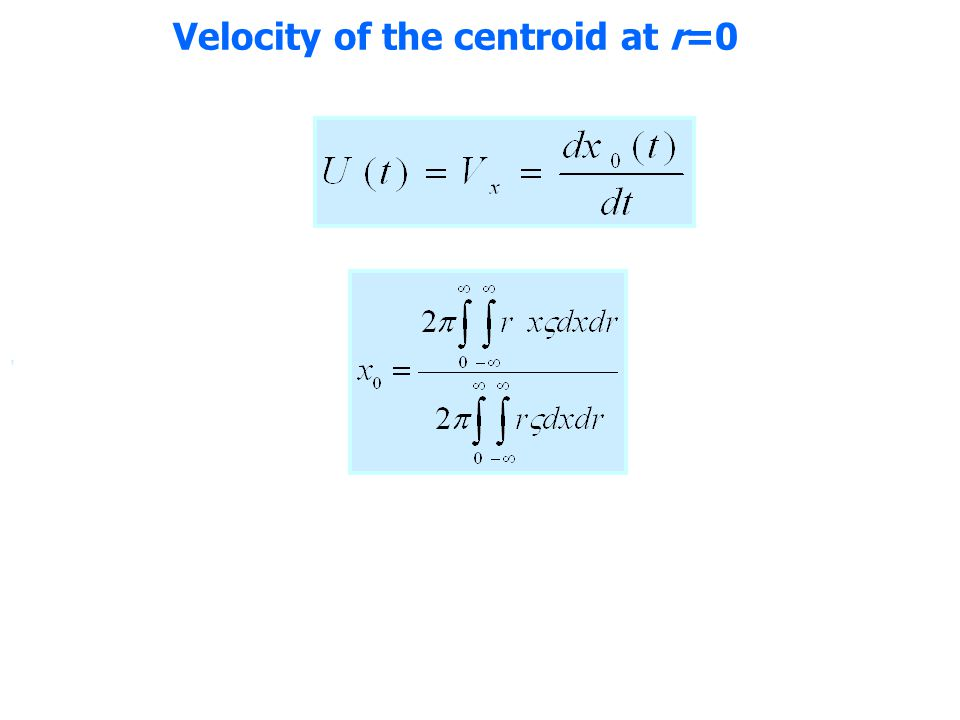 Velocity of the centroid at r=0,