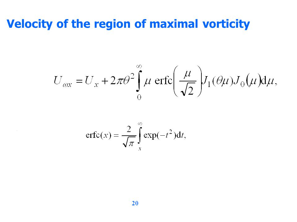 20 Velocity of the region of maximal vorticity,