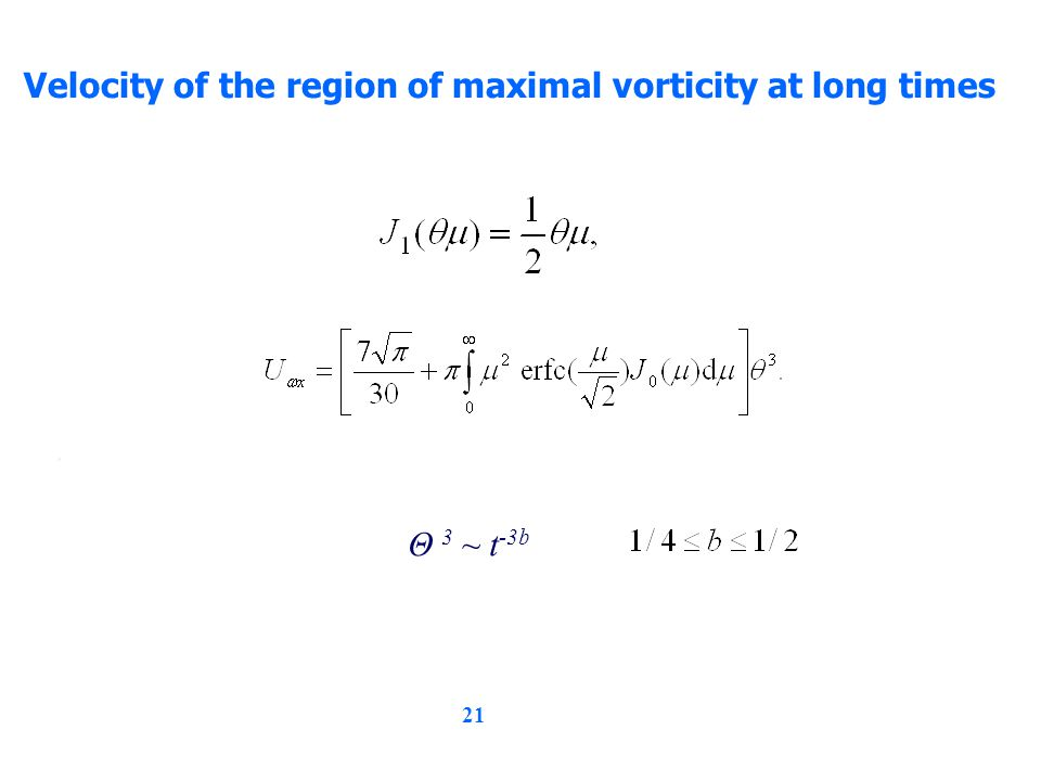 21 Velocity of the region of maximal vorticity at long times, Θ 3 ~ t -3b