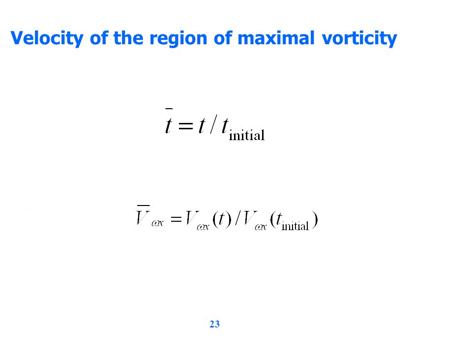 23 Velocity of the region of maximal vorticity,