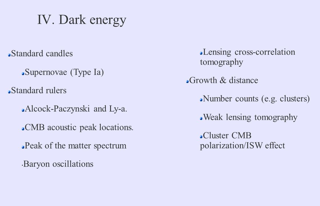IV. Dark energy Standard candles Supernovae (Type Ia) Standard rulers Alcock-Paczynski and Ly-a.