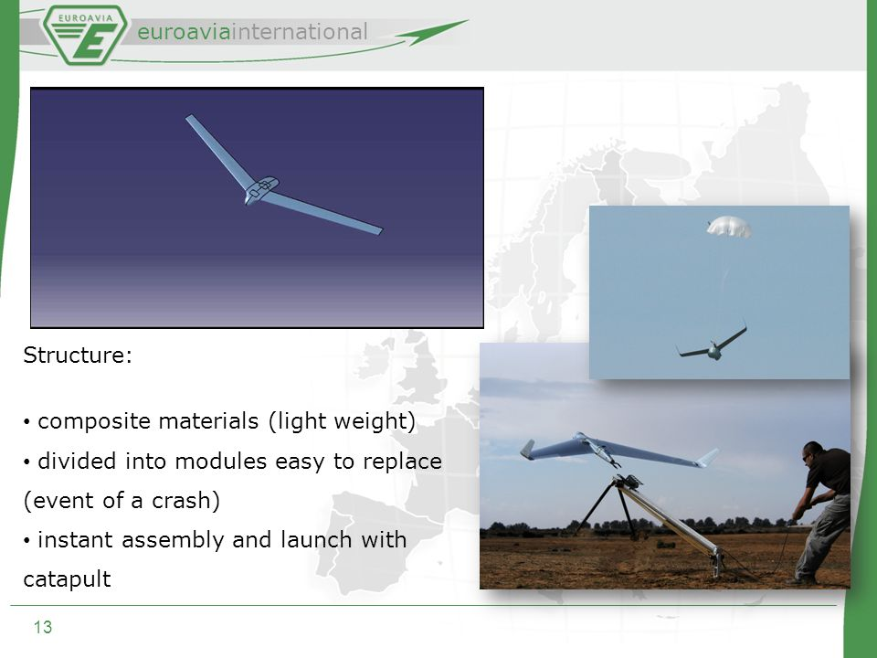 euroaviainternational 13 Structure: composite materials (light weight) divided into modules easy to replace (event of a crash) instant assembly and launch with catapult