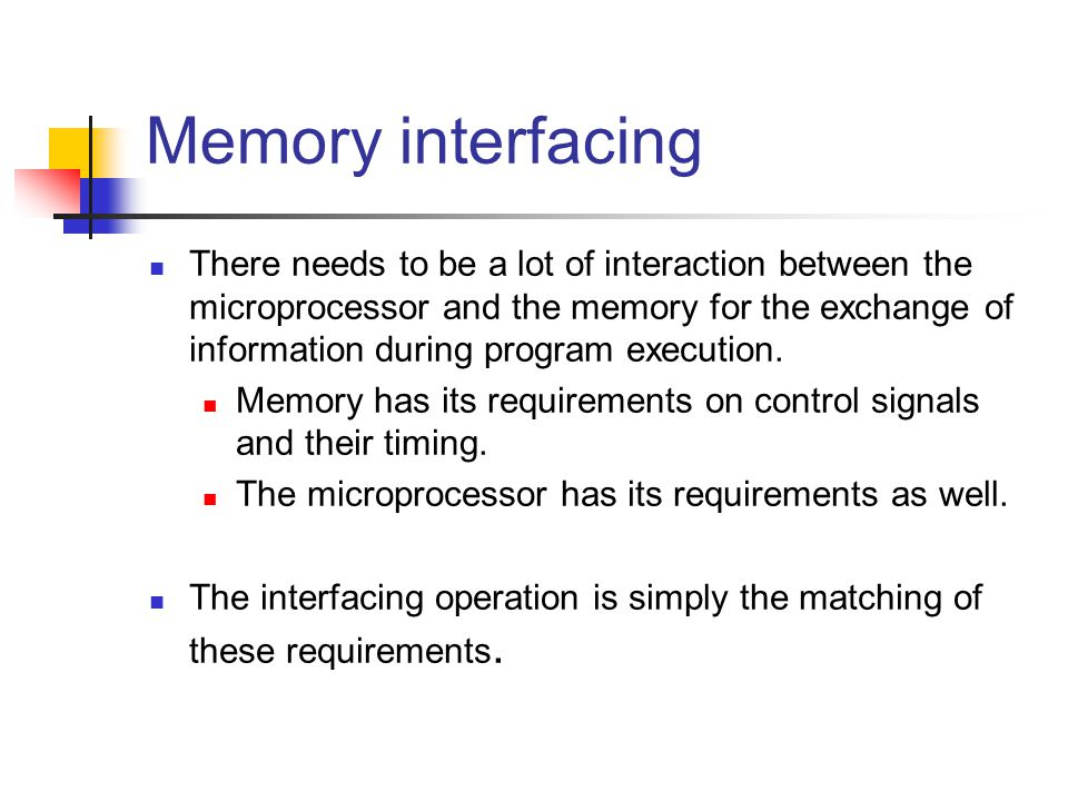 Memory interfacing There needs to be a lot of interaction between the microprocessor and the memory for the exchange of information during program exe