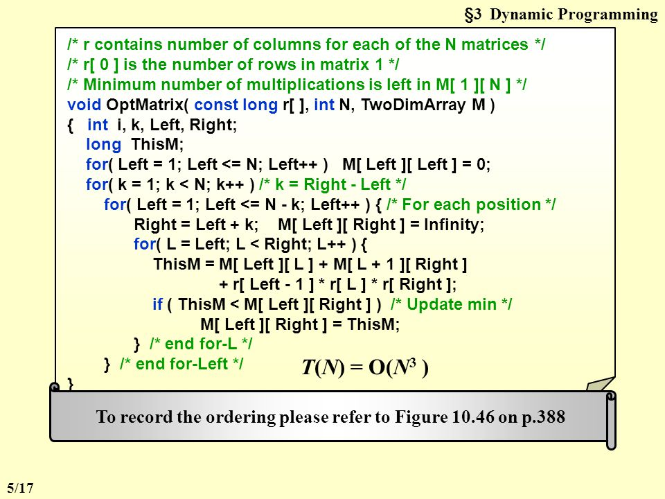 §3 Dynamic Programming /* r contains number of columns for each of the N matrices */ /* r[ 0 ] is the number of rows in matrix 1 */ /* Minimum number of multiplications is left in M[ 1 ][ N ] */ void OptMatrix( const long r[ ], int N, TwoDimArray M ) { int i, k, Left, Right; long ThisM; for( Left = 1; Left <= N; Left++ ) M[ Left ][ Left ] = 0; for( k = 1; k < N; k++ ) /* k = Right - Left */ for( Left = 1; Left <= N - k; Left++ ) { /* For each position */ Right = Left + k; M[ Left ][ Right ] = Infinity; for( L = Left; L < Right; L++ ) { ThisM = M[ Left ][ L ] + M[ L + 1 ][ Right ] + r[ Left - 1 ] * r[ L ] * r[ Right ]; if ( ThisM < M[ Left ][ Right ] ) /* Update min */ M[ Left ][ Right ] = ThisM; } /* end for-L */ } /* end for-Left */ } T(N) = O(N 3 ) To record the ordering please refer to Figure 10.46 on p.388 5/17