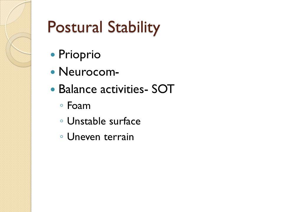 Postural Stability Prioprio Neurocom- Balance activities- SOT ◦ Foam ◦ Unstable surface ◦ Uneven terrain