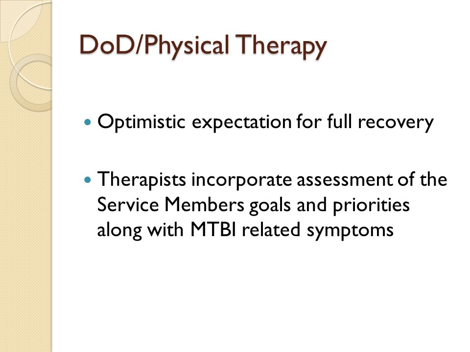Areas of concern for a soldier who has a history of concussion/mTBI Vestibular Dysfunction Balance Complaints Post Traumatic Headache Temporomandibular Joint Dysfunction Attention and Dual-Task Deficits Fitness/ Activity intolerance Musculosketetal complaints