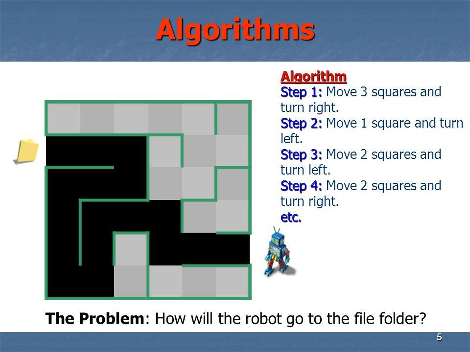 5 Algorithms Algorithm Step 1: Step 1: Move 3 squares and turn right. Step2: Step 2: Move 1 square and turn left. Step3: Step 3: Move 2 squares and tu