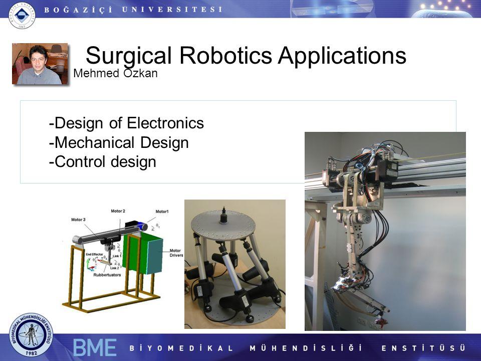 Surgical Robotics Applications -Design of Electronics -Mechanical Design -Control design Mehmed Özkan