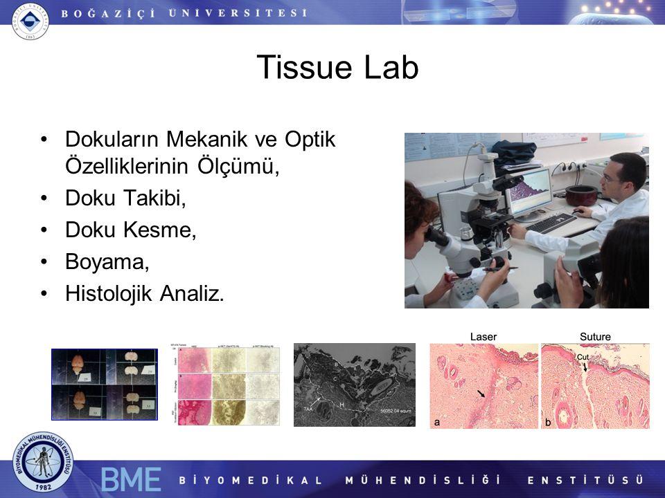 Tissue Lab Dokuların Mekanik ve Optik Özelliklerinin Ölçümü, Doku Takibi, Doku Kesme, Boyama, Histolojik Analiz.