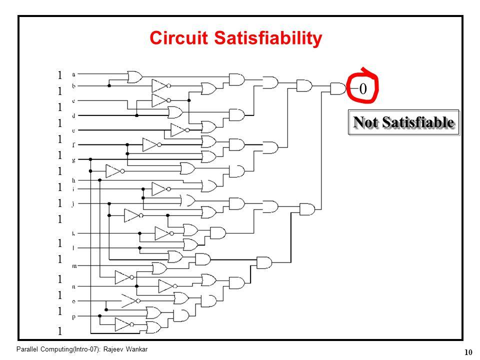 10 Parallel Computing(Intro-07): Rajeev Wankar Circuit Satisfiability 1 1 1 1 1 1 1 1 1 1 1 1 1 1 1 1 Not Satisfiable 0
