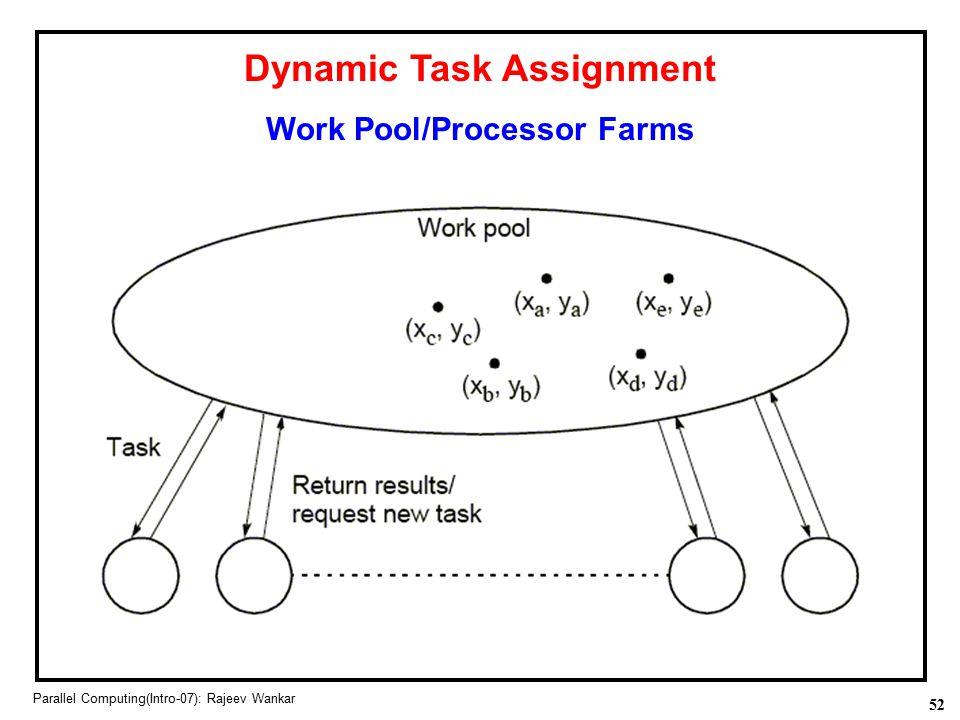 52 Parallel Computing(Intro-07): Rajeev Wankar Dynamic Task Assignment Work Pool/Processor Farms