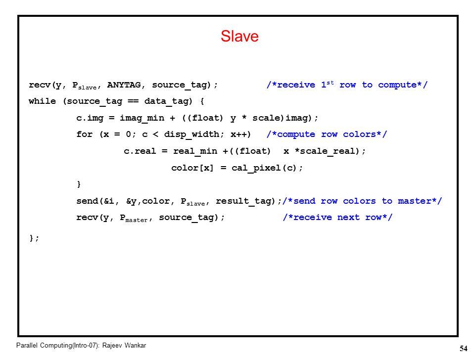 54 Parallel Computing(Intro-07): Rajeev Wankar Slave recv(y, P slave, ANYTAG, source_tag);/*receive 1 st row to compute*/ while (source_tag == data_ta