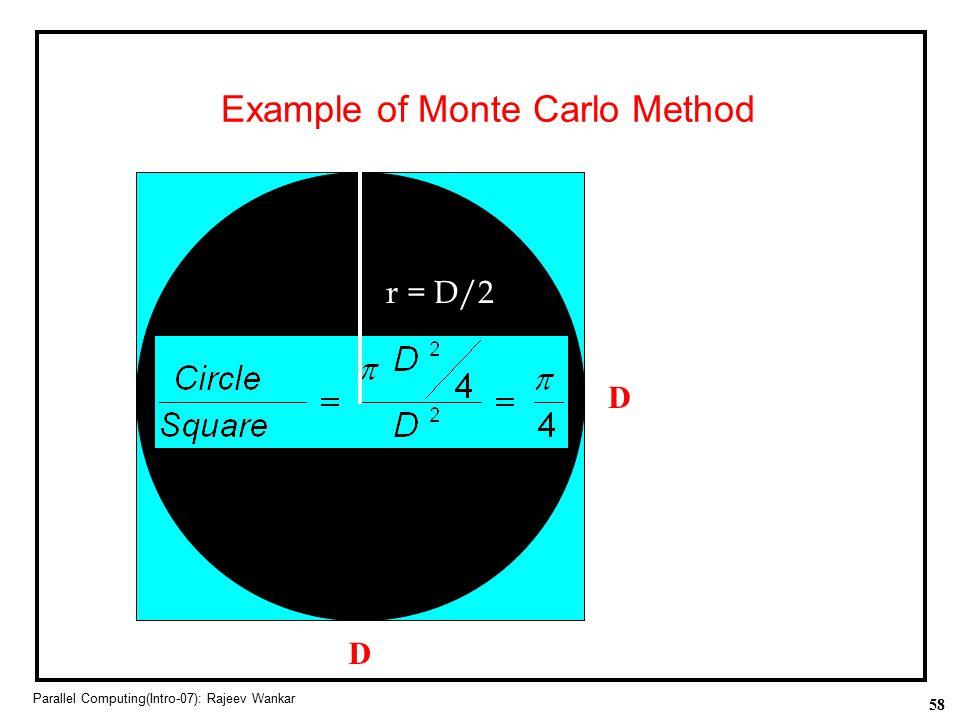 58 Parallel Computing(Intro-07): Rajeev Wankar Example of Monte Carlo Method Area = D 2 Area =  (D/2) 2 D D r = D/2