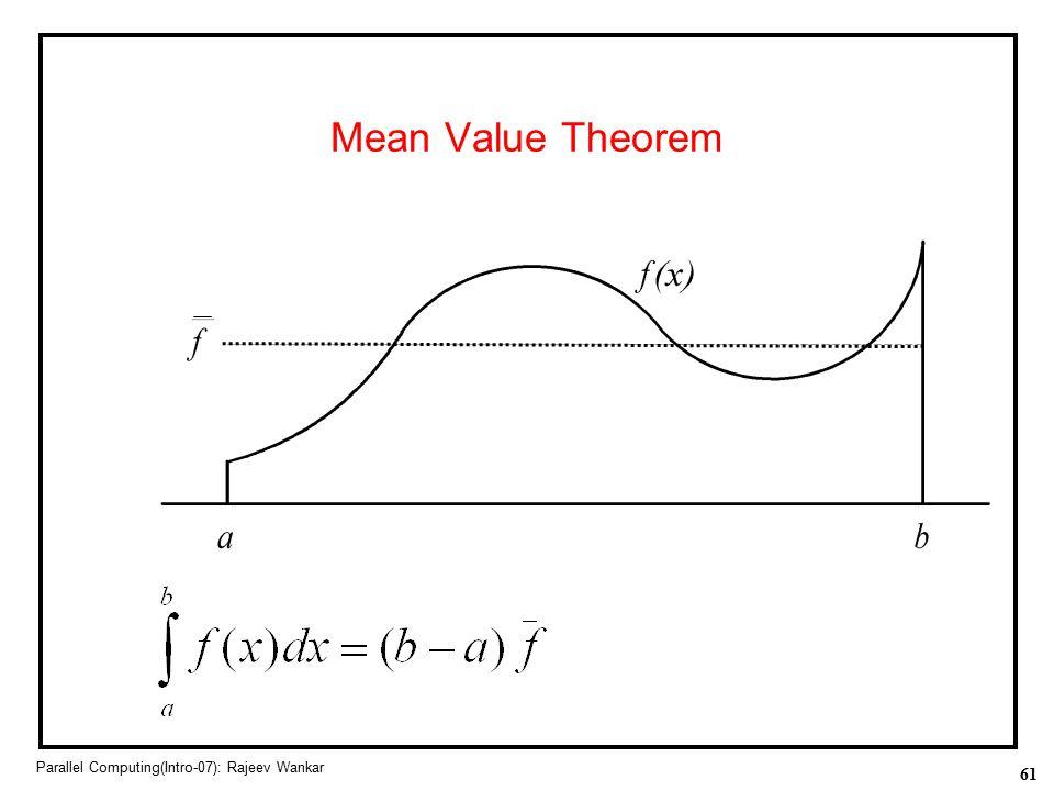 61 Parallel Computing(Intro-07): Rajeev Wankar Mean Value Theorem